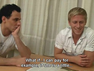 This guy doesn't have sufficiently cash for a cruise and the solely way that guy can get a discount from a horny travel agent is by letting him fuck his beautiful girlfriend. This teeny ends up engulfing dick and getting drilled right on that bastard's working desk and this chab even gives her a cash bonus for getting her boyfriend involved. It isn't all about the travel after all cuz this sweetheart loves getting drilled like a whore and taking a mouthful from a total stranger.
