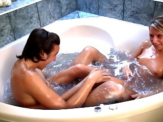 Playful teen sucking big cock and acquire fuck in the bathroom