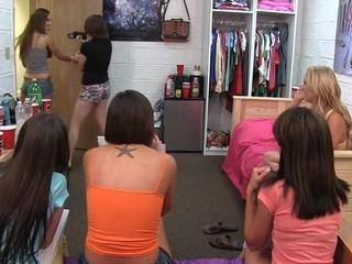 teenie slut swallows his entire knob whilst her friends watch