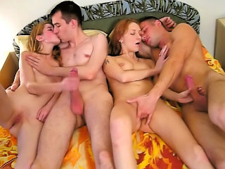 Two stylish sexy babe getting gaped by two mighty fellows