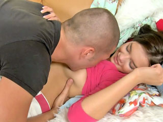 Astounding non-professional brunette legal age teenager getting throat drilled hard
