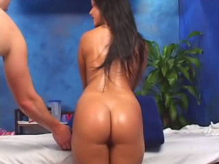 Brunette babe has her hairless fur pie screwed by a big dick