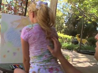 Petite teenie blonde has her pussy big cock fucked sideways