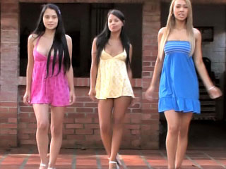 3 fine flawless lesbian legal age teenagers toying themselves outdoor