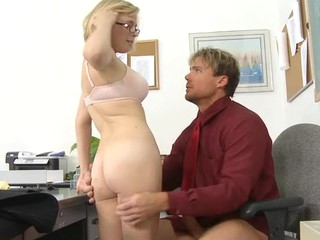 Perverted schoolgirl rides a hard ramrod of her teacher