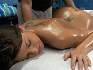 Cute and hot 18 year old gets fucked hard from behind by her massage therapist