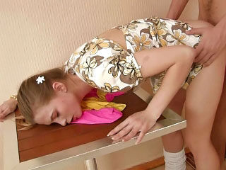Gorgeous amateur golden-haired legal age teenager receives fucked by dirty one schlong