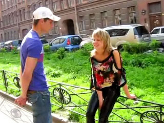 Amazing golden-haired teenie suckes and gets screwed by immodest man