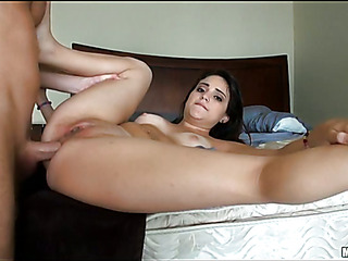 Busty swarthy hotty is performing blow & tugjob to her BF
