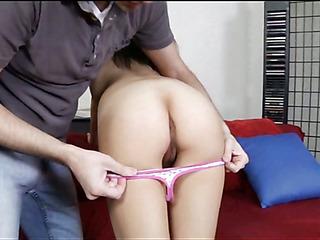 Pal stimulates clit of chick pushing rod inside of slit