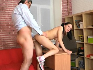 Lusty sweetheart is giving mature teacher a lusty oral-sex session