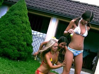 3 fine consummate lesbo teenies toying themselves outdoor