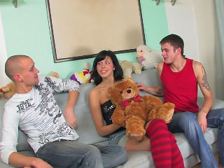 Brunette babe has her hairless pussy fucked by a large shlong