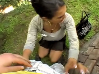 Hot pretty gal gets drilled and cummed outdoors by dirty guy