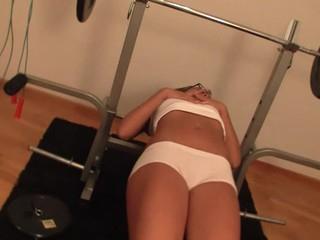 Blond locks herself inside gym to start cookie-stroking action