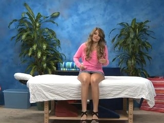 Hawt eighteen year old sweetheart gets screwed hard from behind by her massage therapist