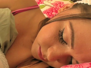 Nice-looking and sexy brunette hair teen swallows knob while asleep