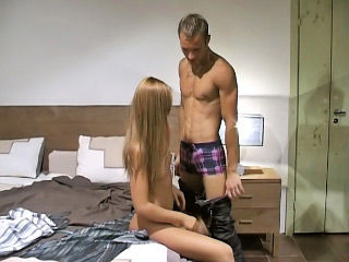Long haired blonde honey strokes and sucks large white dick