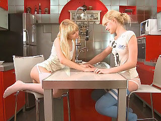 Golden-haired friends passionately kiss and sextoy tight soaked holes