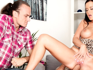 Cindy's cheating boyfriend watches as his friend copulates her.