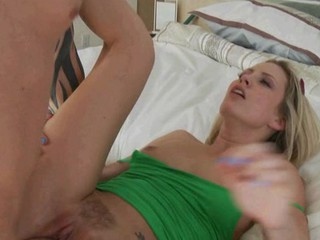 Sexual angel gets jism on her face after being fucked in twat