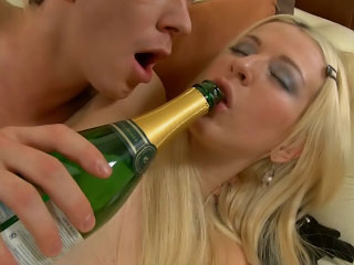 Blonde babe gets muff licked and butt fucked by a hard cock
