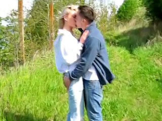 Large juggs blonde babe getting screwed by very big cock outdoors