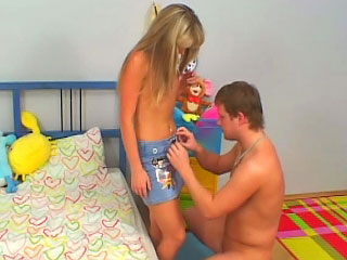 Amazing blonde teenie suckes and gets fucked by old guy
