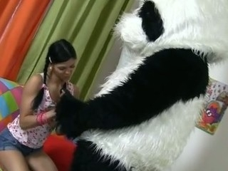 This cute teenage playgirl just wanted to clean her room, but suddenly a massive panda..