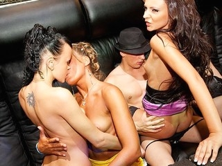 What happens when hawt college harlots hang out in a night club? They fuck the hottest stripper!