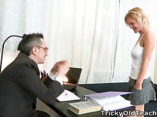 When Shelly spends a little additional time with her teacher this sweetheart pretty soon realises what a tricky old bastard that fellow really is!  It's not lengthy in advance of that guy's got his rod out and this babe's stripping off for a admirable fuck